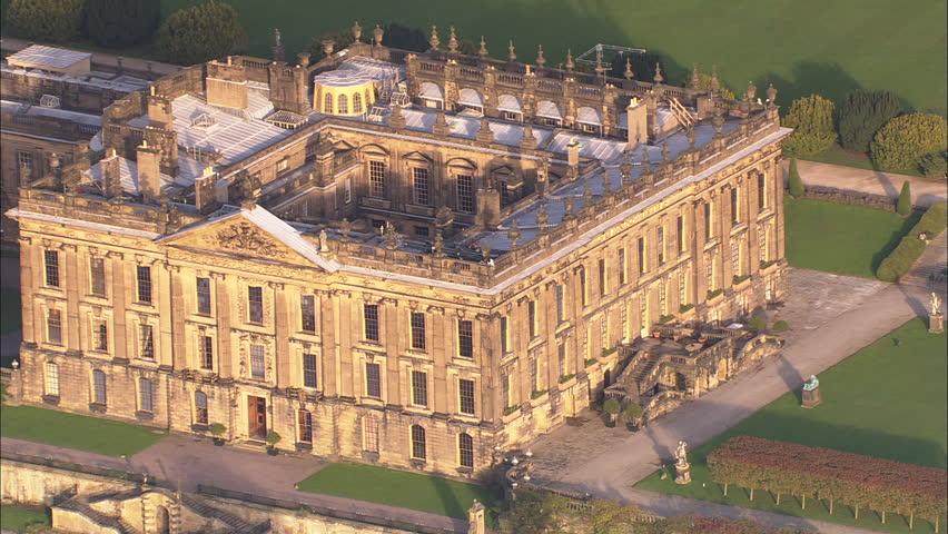 AERIAL United Kingdom-Chatsworth House 2006: Closer shot of main house