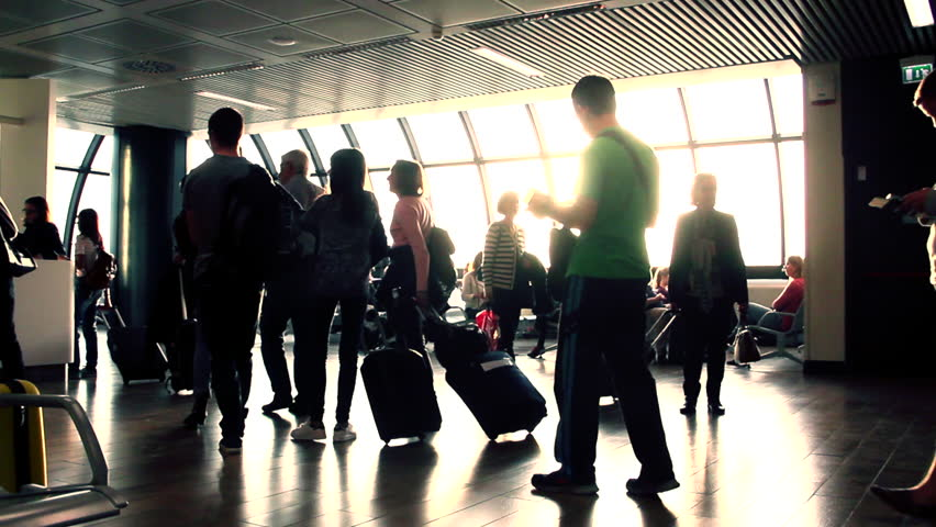 NICE - FRANCE - APRIL 2, 2015: people in line at Nice airport, on April 2, 2015 in Nice, France | Shutterstock HD Video #10046174