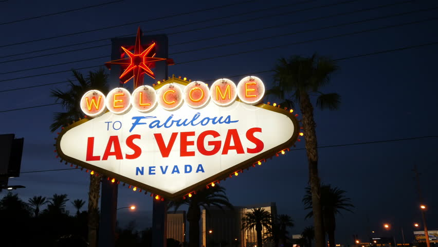 High quality video of welcome to fabulous Las Vegas Sign at night in 4K | Shutterstock HD Video #1005599455