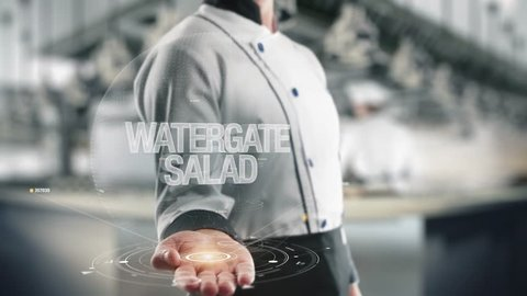 Chef holding in hand Watergate Salad