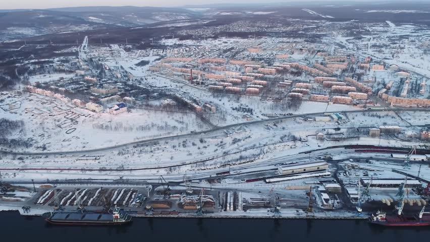 Vanino of the Khabarovsk Krai . the port of Vanino . filmed from above by drone . winter . transbunker