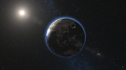 Sunrise view on Planet Earth and Moon satellite rotating and spinning in open space. Cities Lights at Night. Looped animation. High detail 4k 3D Render. Zoom. Elements of this image furnished by NASA