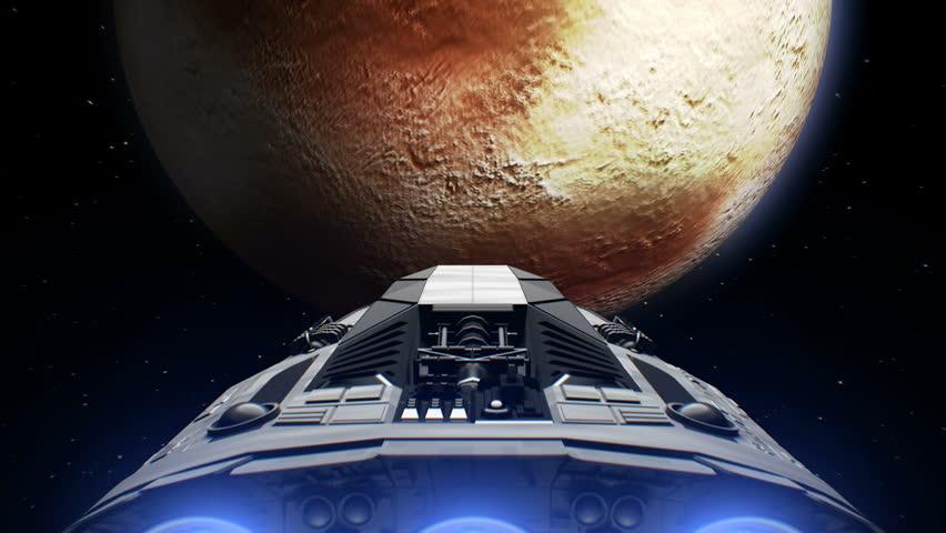 Destination Pluto  Giant Spaceship Flies Stock Footage Video (100%  Royalty-free) 1005624715 | Shutterstock