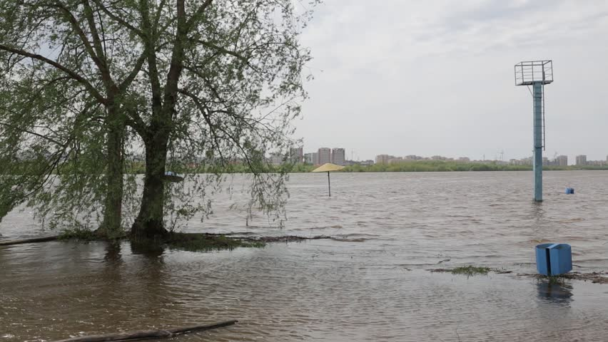 Spring flood on the Irtysh river in the city of Omsk, Russia