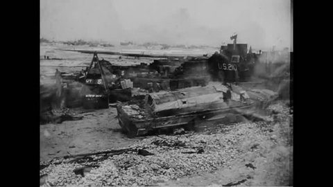 CIRCA - 1944 - Wrecked vehicles, including tanks, trucks, watercraft and jeeps are shown in the aftermath of battle in World War 2.