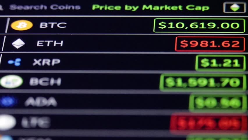 Cryptocurrency Market Crypto Currency Live On Mobile Phone Value Changes Of Digital Bitcoin Ethereum Litecoin