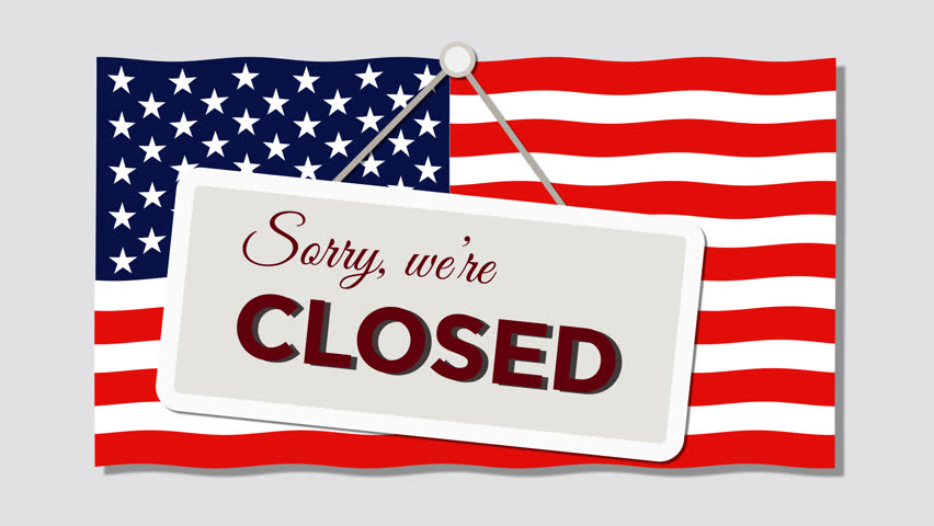 Government Shutdown, We are Closed Sign in Front of American Flag, Looping Graphic