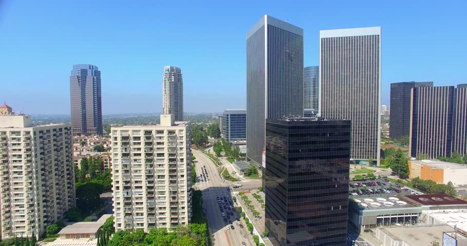 Aerial view of Century City skyline and  skyscrapers, Los Angeles, California, 4K