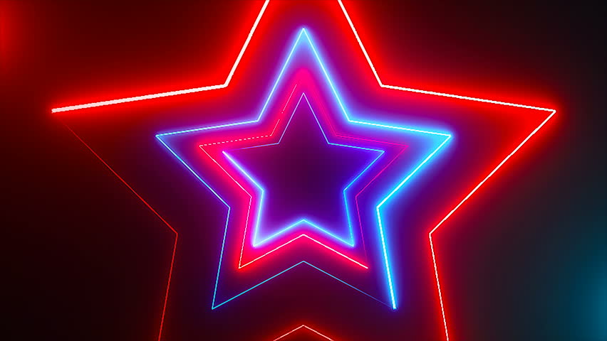 Abstract digital background with neon stars. CG animation 3d rendering. Seamless loop | Shutterstock HD Video #1006620955
