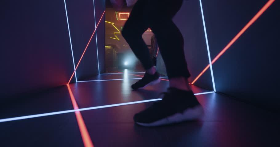 Closeup dancing foot in the cosmic tunnel look. 4k