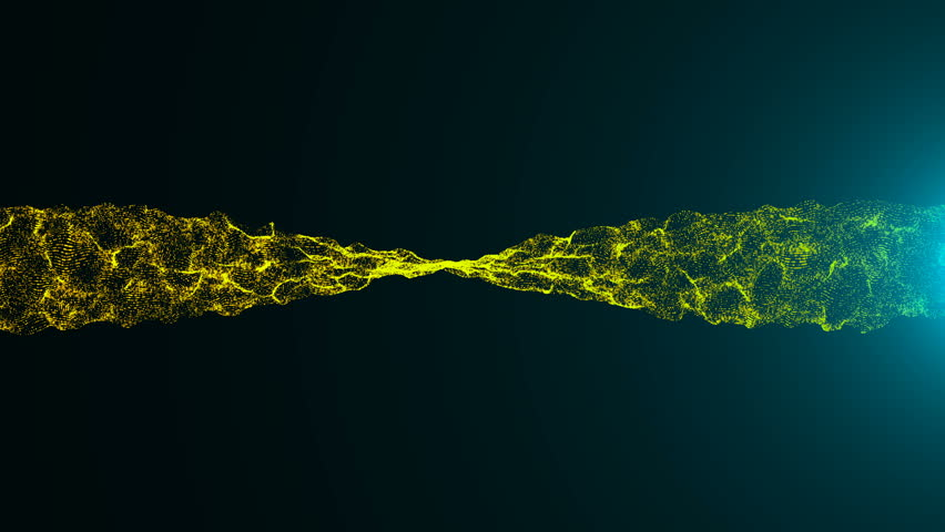 Wavy surface of shine particles with glittering flare. Computer animation background. Seamless loop | Shutterstock HD Video #1006629055