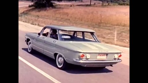 CIRCA 1950s - A promotional film for the Chevrolet Corvair.