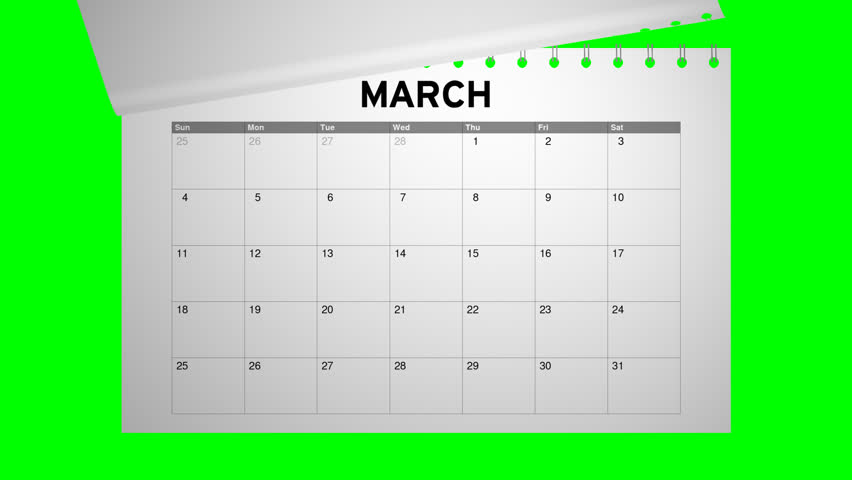 Closeup of a calendar with fast flipping pages. Shot with green screen background