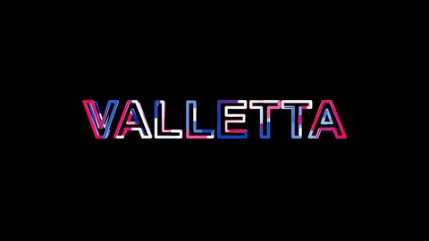 Letters are collected in capital name VALLETTA, then scattered into strips. Bright colors. Alpha channel Premultiplied - Matted with color black