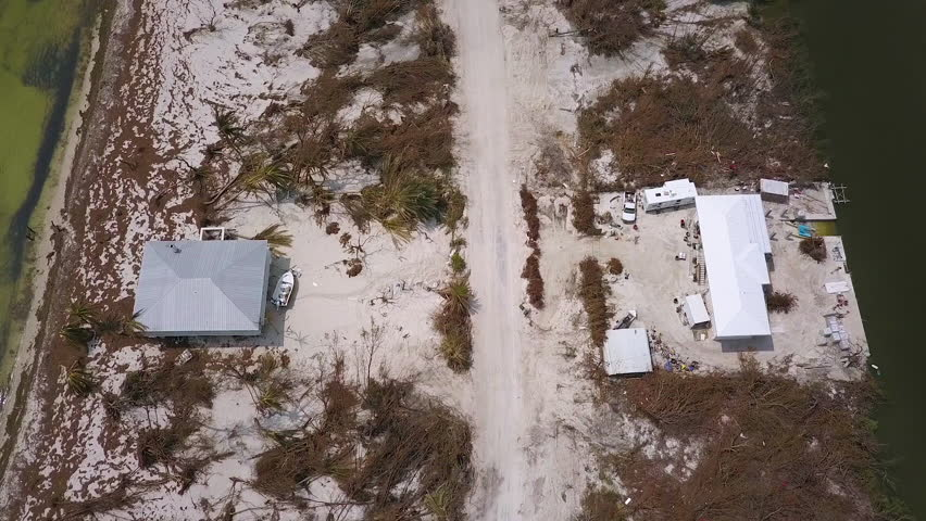 CIRCA 2010s - An aerial over the destruction wraught by Hurricane Irma near the Florida Keys.