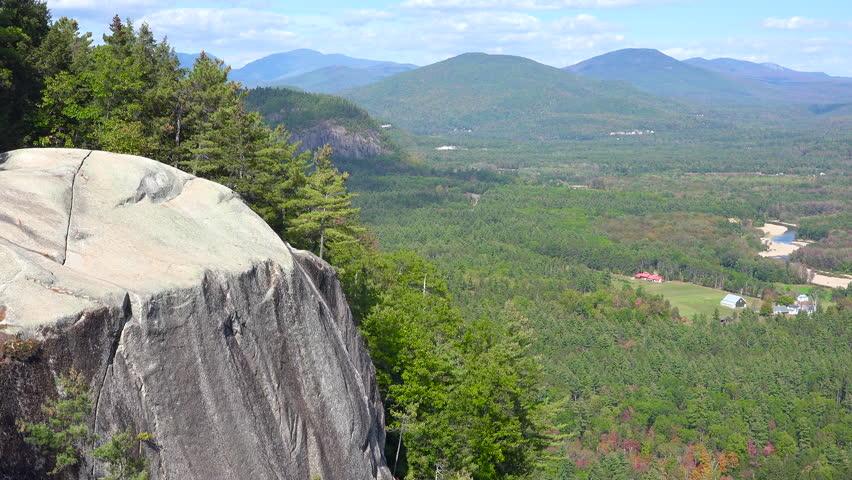 WHITE MOUNTAINS, NEW HAMPSHIRE - CIRCA 2010s - An establishing shot of the White Mountains in New Hampshire.