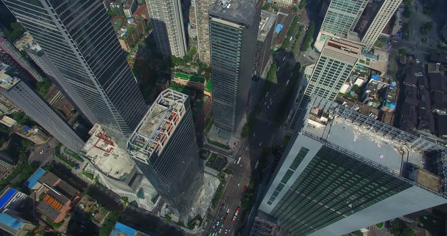 Chengdu, Sichuan China,July 27,2016:aerial view looking down from above of new office building in Chengdu Sichuan China | Shutterstock HD Video #1006716925