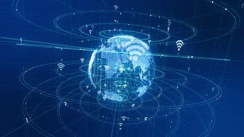 Wireless communication network concept.