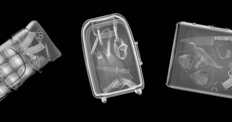 X-ray contraband luggage loop / 3D animation of x-rayed bags containing guns, knives, explosives and drugs