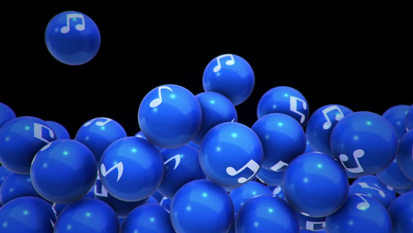 Animation of falling and filling screen blue balls with music note symbol. Animation of seamless loop. | Shutterstock HD Video #1006772725