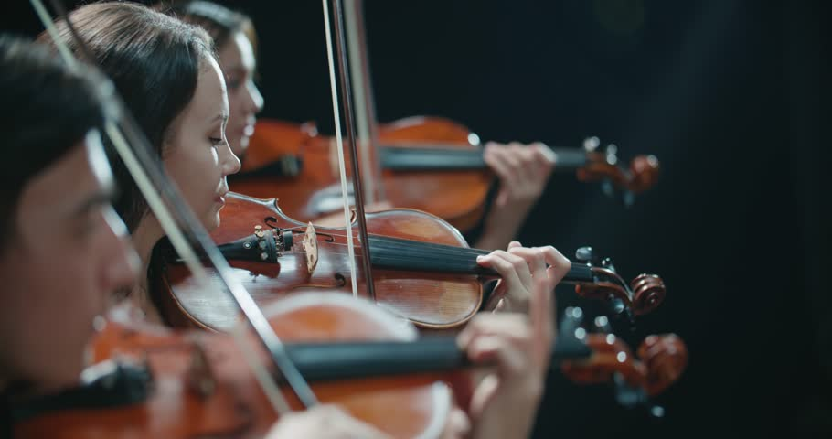String quartet performs on stage, close-up of violin in work | Shutterstock HD Video #1006776505