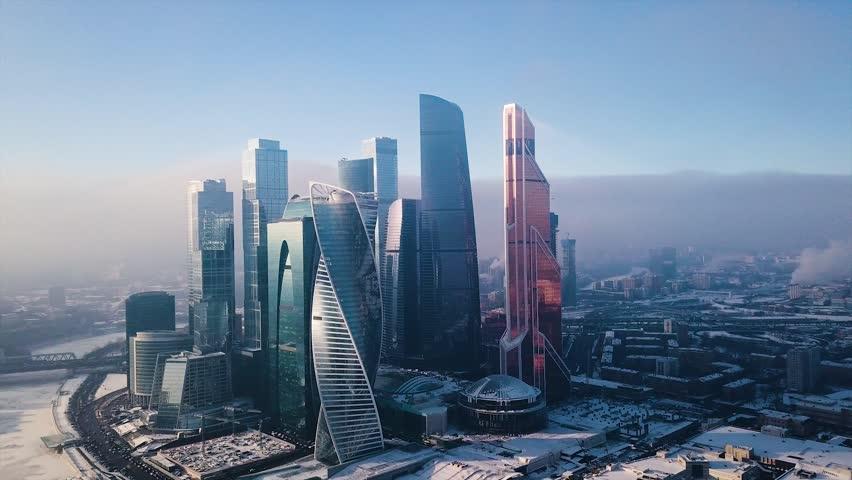 Rare aerial shot of Winter Moscow City Business Center