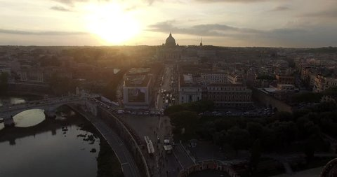 ROME, ITALY – OCTOBER 2015 : Aerial shot over central Rome at sunset with view of river Tiber, Vatican City and Castel Sant'Angelo
