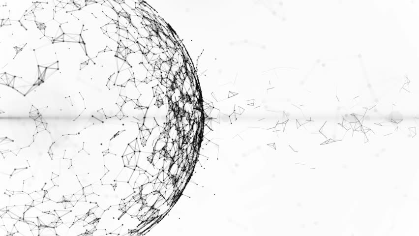 animated rotating abstract blue sphere constructed with glowing points  lines and polygons  in