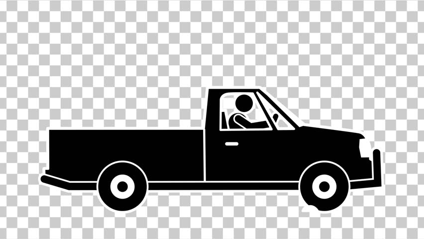stick figure driving pickup truck with alpha channel stock