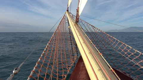 Fantastic View from the Bow of the Sailing Tall Ship to the Sea in Front of You and Sails on Masts