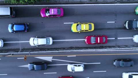 Aerial top down view of traffic jam on a city car road in the rush hour