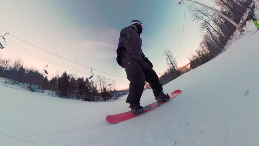Extreme sport wide angle snowboard athlete on winter ski hill #1006855165