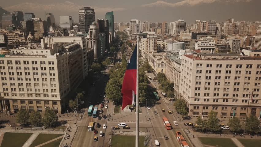 flag waving at the chilean House of State