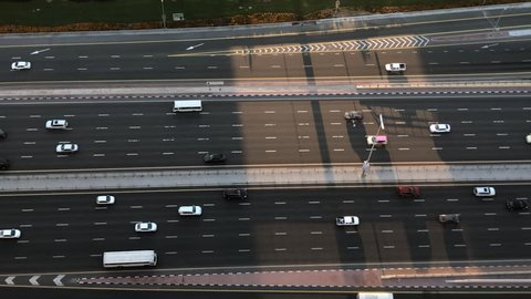 Birds Eye View Of Busy Highway Street At Sunrise In Dubai