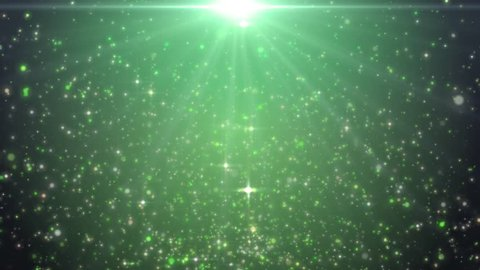 Space green background with particles. Space lime dust with stars. Sunlight of beams and gloss of particles galaxies. Seamless loop. Green screen.