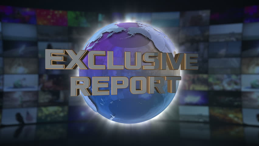 Exclusive Report On Screen 3D Animated Text Graphics Over Spinning Animated Glass Globe News Broadcast Graphic Title Animation Seamless Looping Motion Background Video Backdrop Blue Cyan | Shutterstock HD Video #1006934365