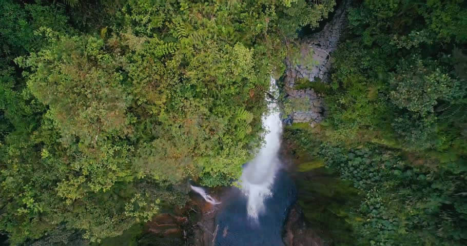 Aerial, Catarata Del Toro, Waterfall, Costa Rica | Graded and stabilized version. Watch also for the untouched, flat version.