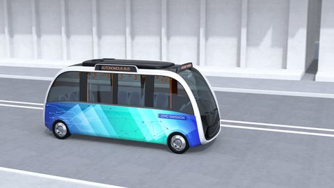 Autonomous shuttle bus driving in bus station. The bus station equipped with solar panels for electric power. 3D rendering animation.
