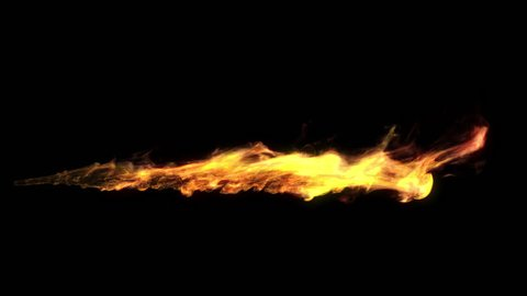 Realistic animation of a flame shooting out like a flamethrower. Short burst. Including luma matte.