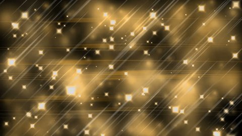 Golden parallel lines, stars and blurred lights, neon  light streaks forming crossing shiny lines, with sparkling graphic particles, dynamic vivid background, abstract illustration, animation