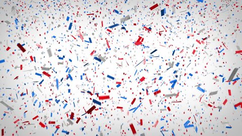 Patriotic confetti! Loopable red, white, and blue confetti falls and clears frame. Ticker tape and circular style confetti.