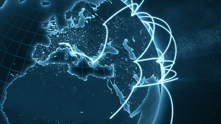 3d animation of a growing network across the world. Close-up. Seamless loop. Abstract global business network concept. New and improved 4K blue and orange version  | Shutterstock HD Video #1007002405