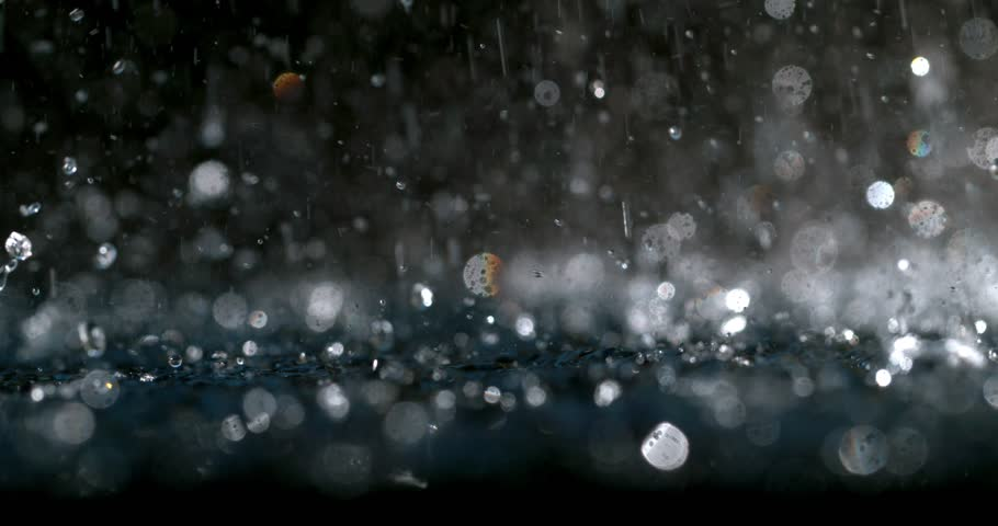 Heavy rain slow motion close up shot on Phantom Flex 4K