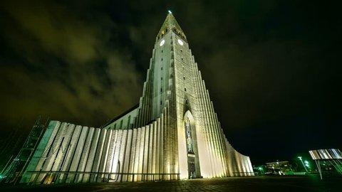 Reykjavik church at night - moving clouds and aurora borealis time lapse