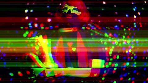 sexy female disco dancer poses in UV fluorescent costume
