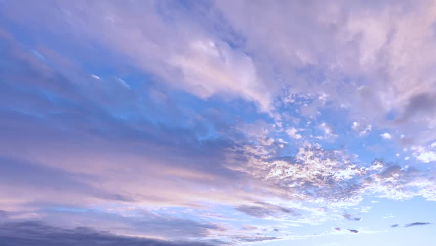 Evening dark rain , stormy clouds time lapse, dark blue sky, rolling building clouds motion in horizon. White clouds flying blue sky time lapse. Cumulus clouds fast flying sky timelapse. Ultra HD.