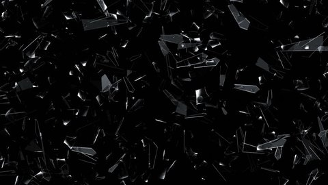 3D animation of broken glass shattering and exploding into shards.