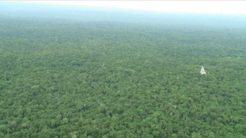 Aerials of Tikal in the Maya Biosphere Reserve in the jungle of Guatemala showing the ruins