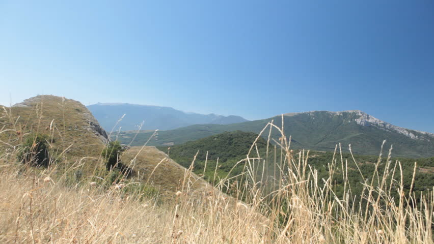 Panoramic view of Crimean mountains. Chatyr-Dag mountain is visible in the right