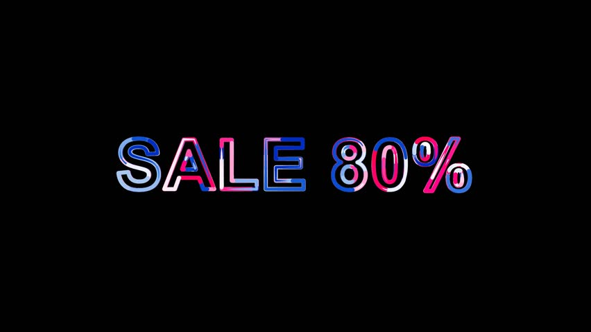 Sale tag SALE 80% from letters of different colors appears behind small squares. Then disappears. Alpha channel Premultiplied - Matted with color white | Shutterstock HD Video #1007132545